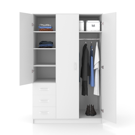 closet door: White wardrobe with open doors isolated on white background. Include clipping path. 3d render Stock Photo