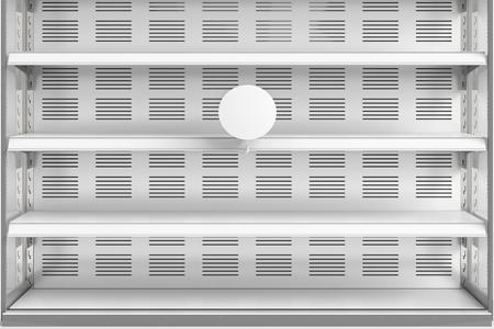 Close-up van lege koelkast showcase planken met lege label. 3d render