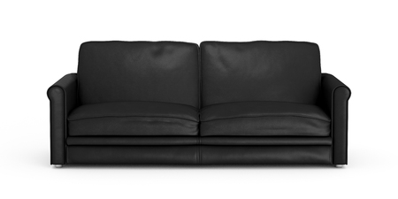 Black leather sofa isolated on white background. Include clipping path. 3d render