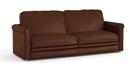 Brown leather sofa isolated on white background. Include clipping path. 3d render Stock Photo