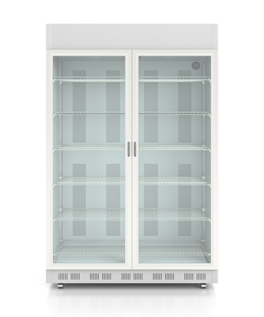 Empty glass two door display refrigerator. Isolated on white background include clipping path. 3d render