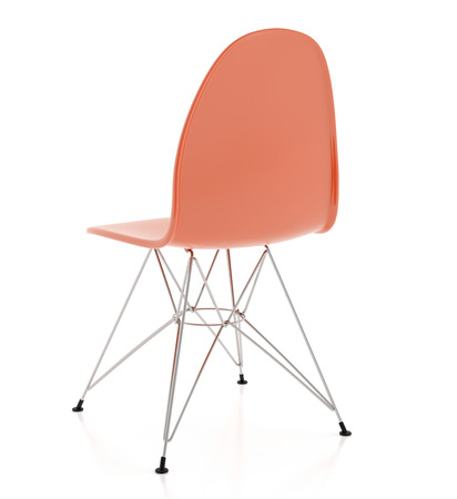 Modern design brown plastic chair isolated on white background. Include clipping path. 3d render