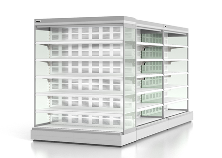 store shelf: Set of empty supermarket refrigerator showcase. Isolated on white background. 3d render