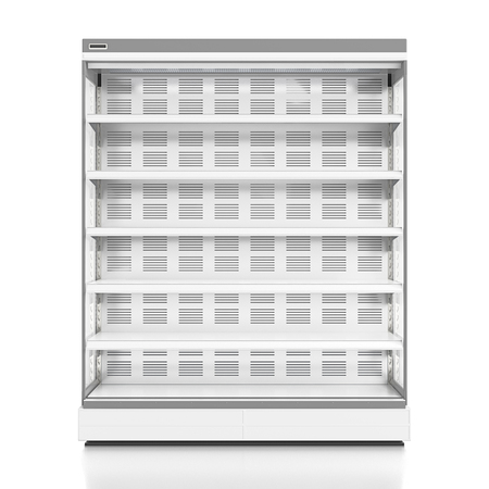 Empty supermarket refrigerator showcase. Isolated on white background include clipping path. 3d render