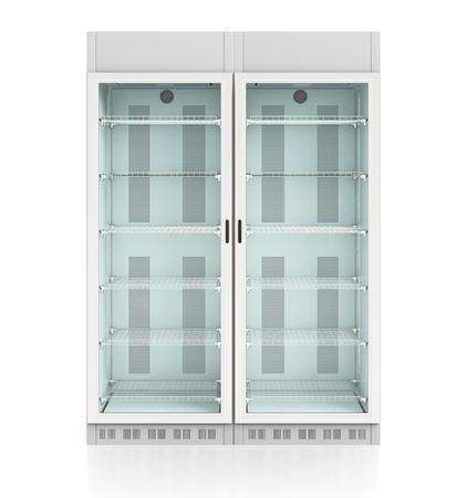 空のガラス扉ディスプレイ冷蔵庫が 2 つ。白で隔離背景にはクリッピング パスが含まれます。3 d のレンダリング
