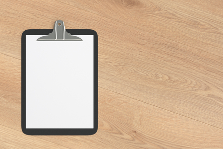 Black clipboard with blank white paper pages isolated on wooden background with clipping path. 3d illustration