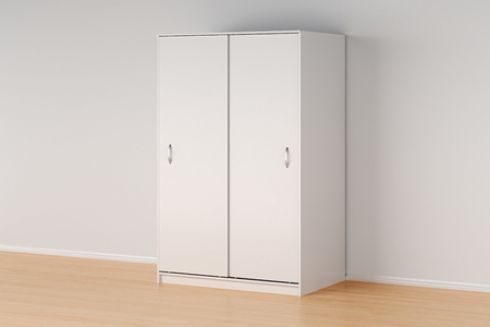 hang up: White wardrobe with closed sliding doors in simple interior with clipping path. 3d illustration Stock Photo