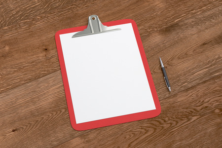 ballpen: Red clipboard with blank white paper pages and ball pen isolated on wooden background with clipping path. 3d illustration