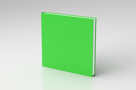 Green square blank book cover mockup with fabric texture standing isolated on white background with clipping path. 3d illustration