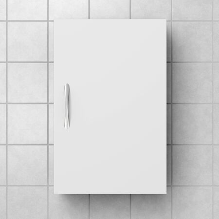 Closed white bathroom cabinet isolated on white tiled wall with clipping path. 3d illustration
