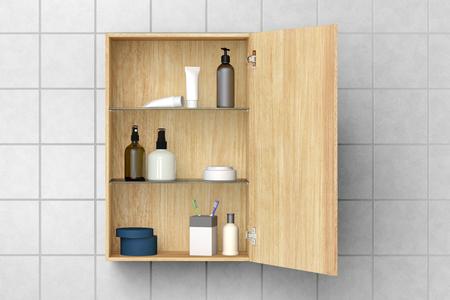 Open houten badkamerkastje met schoonheidsmiddelen en badproducten die op witte betegelde muur met het knippen van weg worden geïsoleerd. 3D illustratie Stockfoto