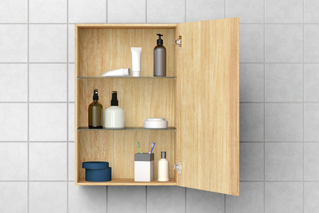 Open wooden bathroom cabinet with cosmetics and bath products isolated on white tiled wall with clipping path. 3d illustration Stock Photo