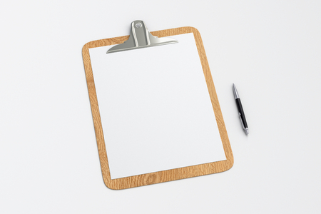 Wooden clipboard with blank white paper pages and ball pen isolated on white background with clipping path. 3d illustration Stock Photo
