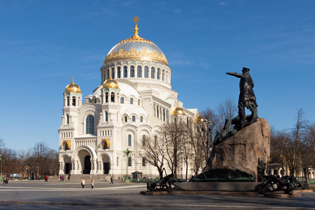 Kronstadt naval orthodox cathedral of St. Nicholas and  monument to S. O. Makarov in Kronstadt,  Saint-Petersburg, Russia