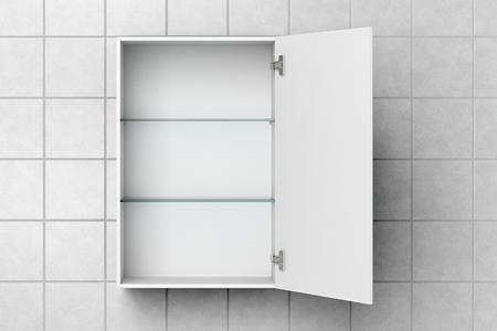 Ffnen Sie den leeren weißen Badezimmerschrank, der auf weißer Fliesenwand mit Beschneidungspfad lokalisiert wird. 3D-Darstellung Standard-Bild - 79424267
