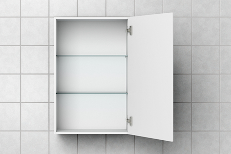 Open empty white bathroom cabinet isolated on white tiled wall with clipping path. 3d illustration