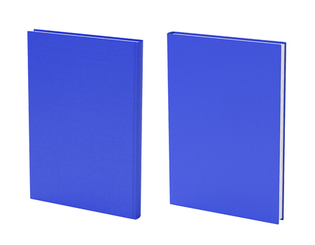 Front and back view of standing portrait blue blank book cover mockup with fabric texture isolated on white background. 3d illustration