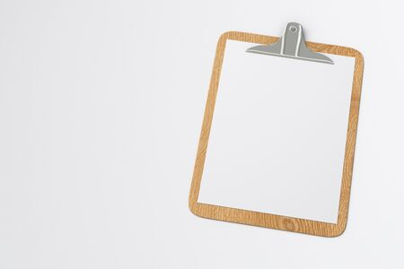 Wooden clipboard with blank white paper pages isolated on white background with clipping path. 3d illustration Stock Photo