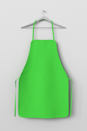 Blank green apron isolated on white background with clipping path. 3d illustration. Stock Photo