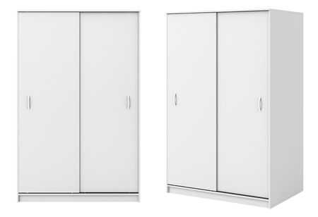 hang up: Two views of white wardrobe with closed sliding doors isolated on white background. 3d illustration Stock Photo