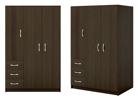 hang up: Two views of closed dark brownwardrobe isolated on white background. 3d illustration Stock Photo