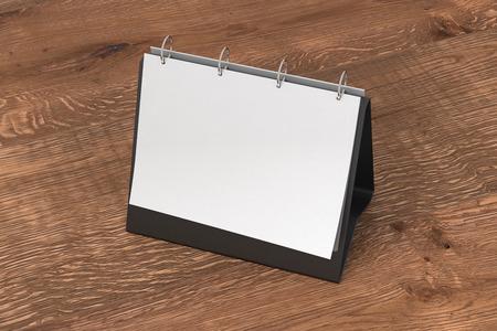 Leeg landschap tafelblad flip chart ezel binder of kalender mockup staan ??op houten achtergrond geïsoleerd met uitknippad. 3d illustratie Stockfoto