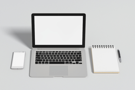 ballpen: Blank screen laptop, smartphone and notepad with pen isolated on white background with clipping path. 3d illustration