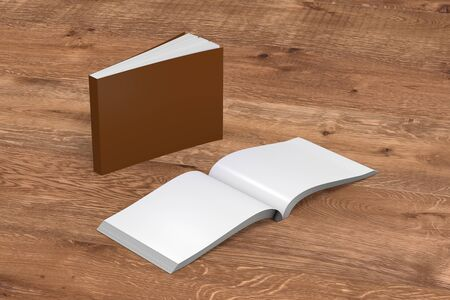 paperback: Blank brown horizontal soft cover books open and standing on wooden background. Isolated with clipping path around each book. 3d illustration