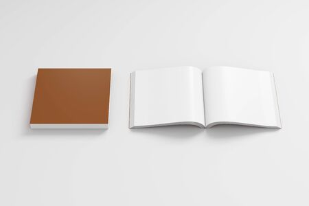 paperback: Blank brown square soft cover book with glossy paper on white background. Open and closed, isolated with clipping path around each book. 3d illustration
