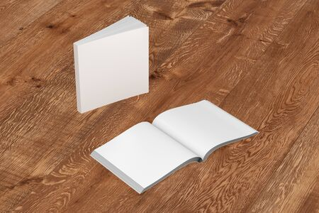paperback: Blank white square soft cover books open and standing on wooden background. Isolated with clipping path around each book. 3d illustration