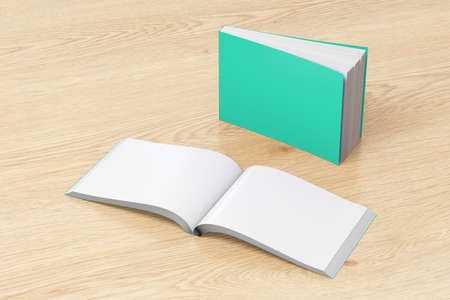 paperback: Blank turquoise horizontal soft cover books open and standing on wooden background. Isolated with clipping path around each book. 3d illustration