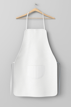 Blank white apron with pocket on hanger isolated with clipping path around apron. 3d illustration