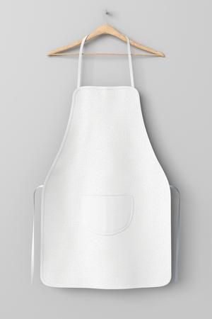 Lege witte schort met zak op hanger geïsoleerd met uitknippad rond de schort. 3D illustratie