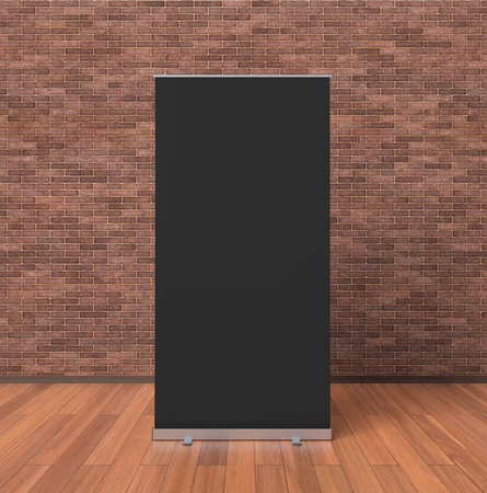 Blank black roll up banner stand isolated in interior with clipping path around ad banner. 3d illustration Stock Photo