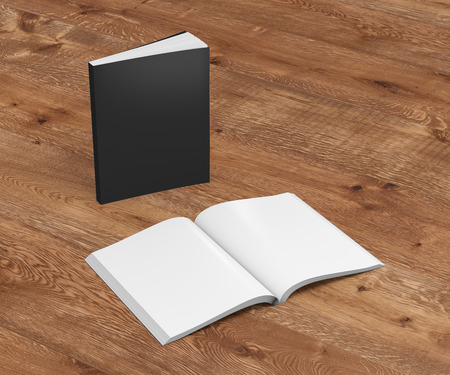 paperback: Blank black vertical soft cover books open and standing on wooden background. Isolated with clipping path around each book. 3d illustration