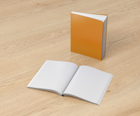 paperback: Blank orange vertical soft cover books open and standing on wooden background. Isolated with clipping path around each book. 3d illustration Stock Photo