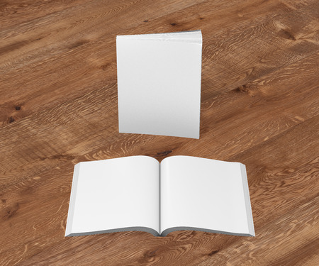 paperback: Blank white vertical soft cover books open and standing on wooden background. Isolated with clipping path around each book. 3d illustration