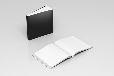 paperback: Blank black square soft cover books open and standing on white background. Isolated with clipping path around each book. 3d illustration