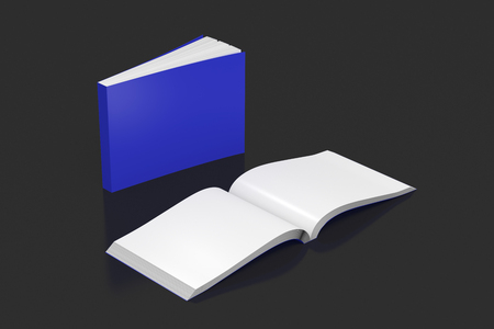 paperback: Blank blue horizontal soft cover books open and standing on black background. Isolated with clipping path around each book. 3d illustration Stock Photo