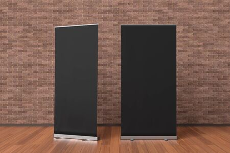 Two blank black roll up banner stands isolated in interior with clipping path around ad banner. 3d illustration