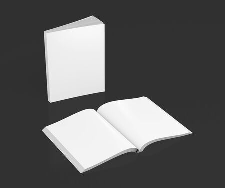 paperback: Blank white vertical soft cover books open and standing on black background. Isolated with clipping path around each book. 3d illustration