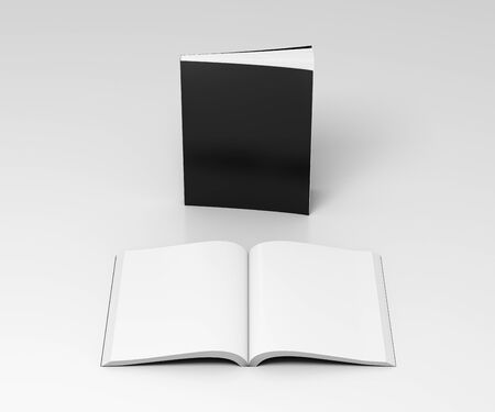 paperback: Blank black vertical soft cover books open and standing on white background. Isolated with clipping path around each book. 3d illustration Stock Photo