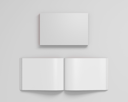 Blank white landscape soft cover book with glossy paper on white background. Open and closed, isolated with clipping path around each book. 3d illustration 版權商用圖片