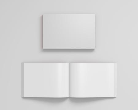 Leeg wit landschaps softcover boek met glanzend document op witte achtergrond. Open en gesloten, geïsoleerd met uitknippad rond elk boek. 3D illustratie