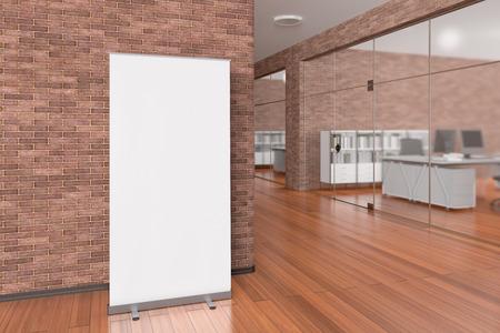 空白ロールアップ バナー スタンド広告スタンド周りにクリッピングパスでオフィスのインテリア。3 d イラストレーション 写真素材