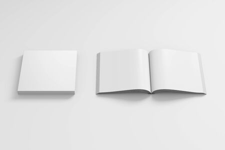 Blank white square soft cover book with glossy paper on white background. Open and closed, isolated with clipping path around each book. 3d illustration