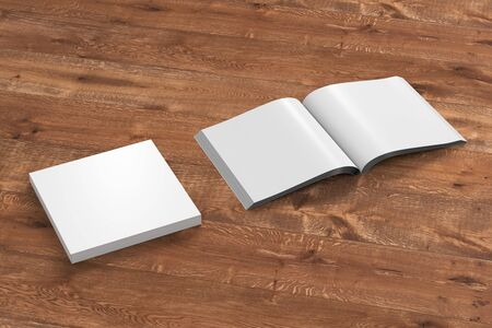 paperback: Blank white square soft cover book with glossy paper on wooden background. Open and closed, isolated with clipping path around each book. 3d illustration