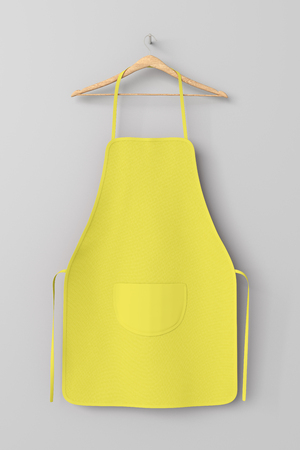 Blank yellow apron with pocket on hanger isolated with clipping path around apron. 3d illustration