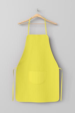 Delantal amarillo en blanco con el bolsillo en la suspensión aislada con el camino de recortes alrededor del delantal. Ilustración 3d