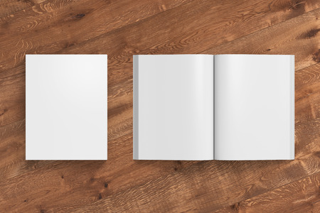 paperback: Blank white portrait soft cover book with glossy paper on wooden background. Open and closed, isolated with clipping path around each book. 3d illustration Stock Photo